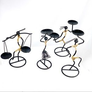 Other - EUC-4Pc StickFigure Iron/JuteCovered Candle Stands